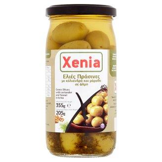 Xenia Zelené olivy celé s koriandrem a fenyklem ve slaném nálevu 355g