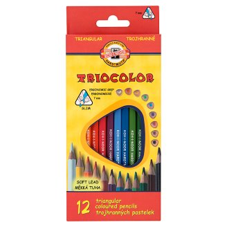 KOH-I-NOOR Triocolor trojhranné pastelky 12 ks