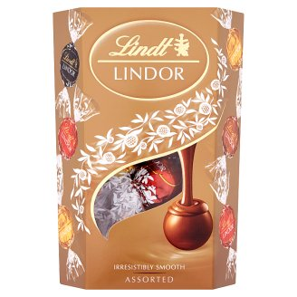 Lindt Lindor Směs mléčné, bílé a hořké čokolády s jemnou krémovou náplní 200g