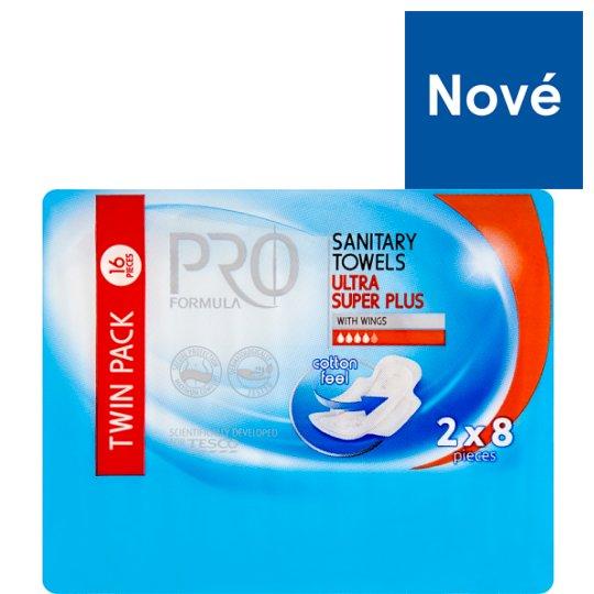 Tesco Pro Formula Super Plus dámské hygienické vložky s křidélky 2 x 8 ks