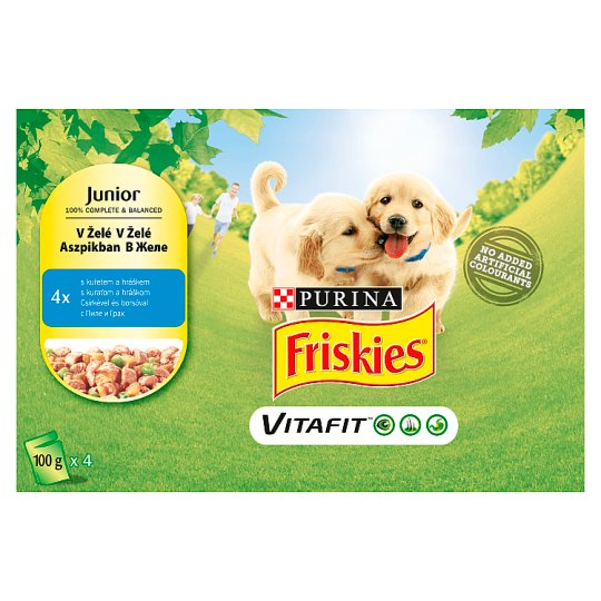FRISKIES JUNIOR VitaFit kapsička s kuřetem a hráškem v želé 4 x 100g