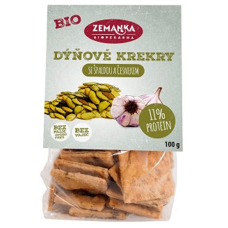 Biopekárna Zemanka Spelled Organic Crackers with Pumpkin Seeds and Garlic 100g