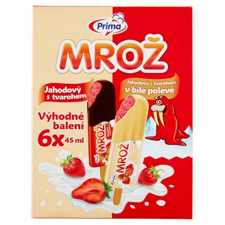 Prima Mrož Jahodový krém s tvarohem mix v křupavé polevě zmrzlina 6 x 45ml