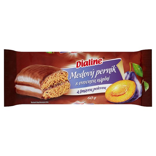 Dialine Honey Gingerbread with Fruit Filling and Dark Frosting 60g