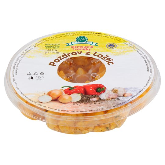 A.W. Olomouc Ripened Cheese Fat Free Greeting from Loštice Pieces with Spices 500g