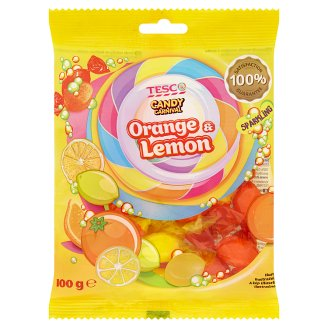 Tesco Candy Carnival Kandytová cukrovinka s šumivou náplní s pomerančovou a citronovou příchutí 100g