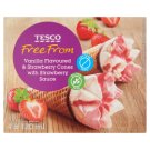 Tesco Lactose-Free Frozen Cream with Vanilla and Strawberry Flavor and Topping 4 x 120ml