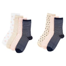 image 2 of F&F Women's Pink-Blue Ankle Socks 7 Pieces in a Pack, S-M, Multicolor