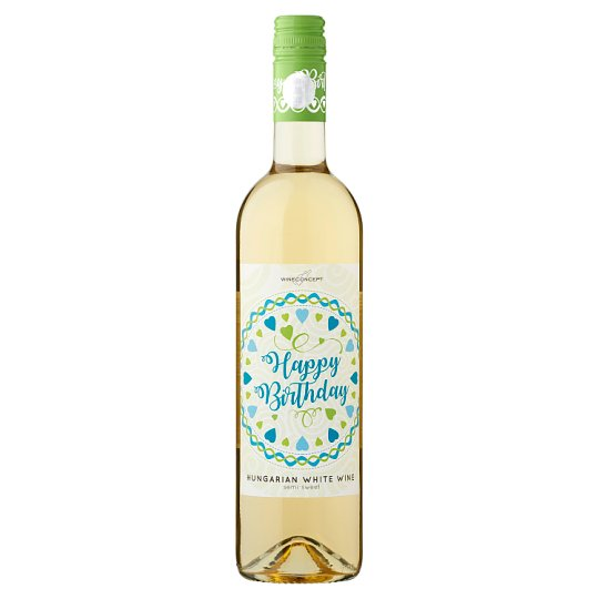 Wine Concept Happy Birthday Debrői Hárslevelű Classical Semi-Sweet White Wine 0.75L