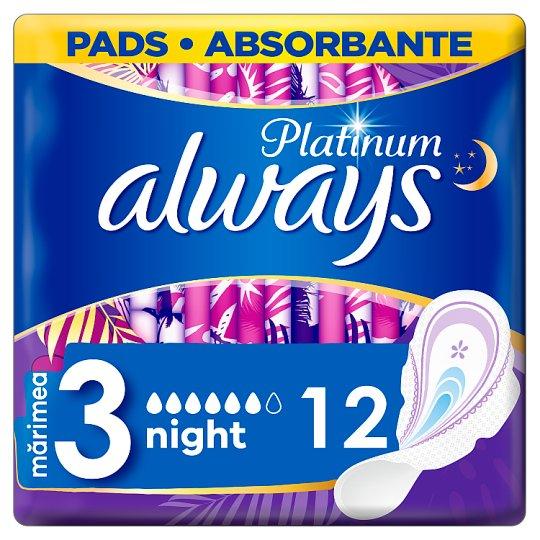 Always Platinum Night (Velikost3) Hygienické Vložky SKřidélky 12Ks
