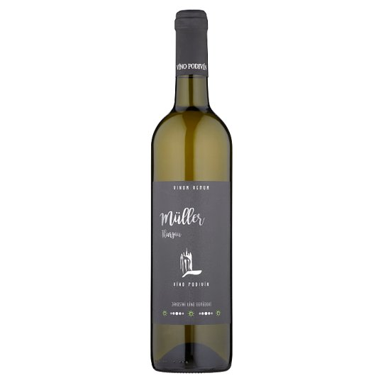 Víno Podivín Müller Thurgau jakostní víno odrůdové suché 0,75l