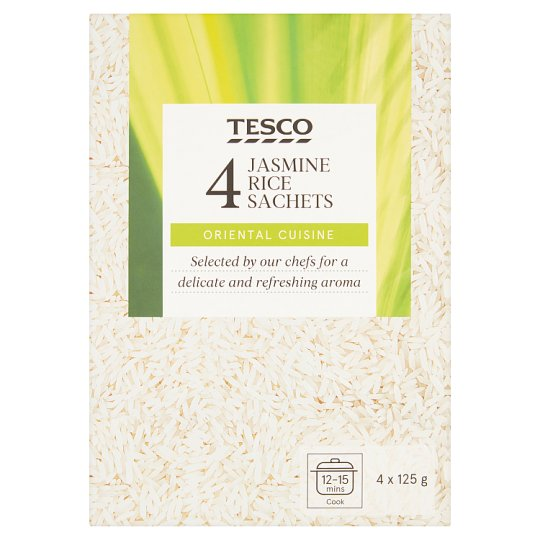 Tesco Long Jasmine Ric in the Boil Bags 4 x 125g