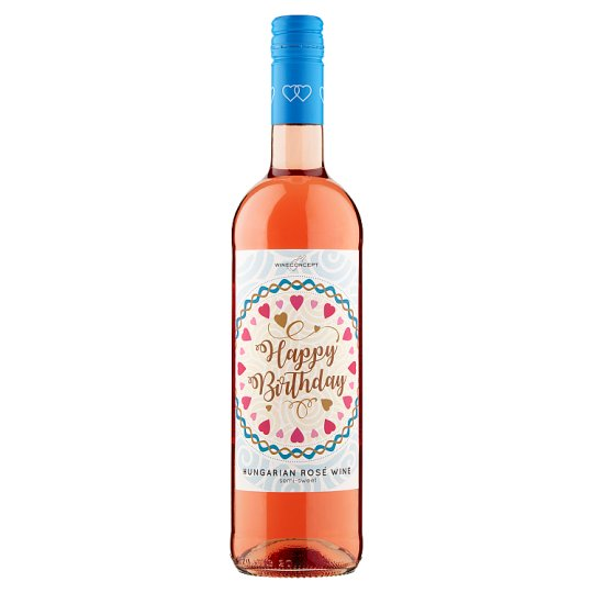 Wine Concept Happy Birthday Rozé Cuvée from Upper-Hungary Sweet Rose Wine 0.75L
