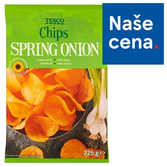 Tesco Smažené bramborové lupínky jarní cibulka 225g
