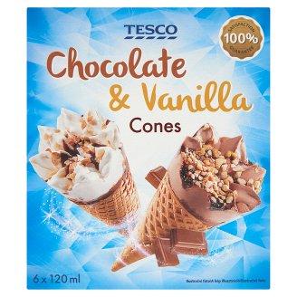 Tesco Chocolate & Vanilla mražený krém 6 x 120ml