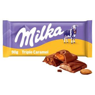 Milka Triple à la Caramel Milk Chocolate with Caramel Pieces and Caramel Filling 90g
