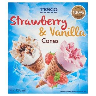 Tesco Strawberry & Vanilla mražený krém 6 x 120ml