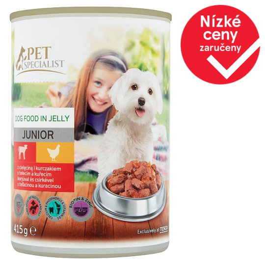Tesco Pet Specialist Junior Dog Food in Jelly with Veal and Chicken 415g