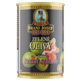 Kaiser Franz Josef Exclusive Zelené olivy plněné šunkou Serrano 300g