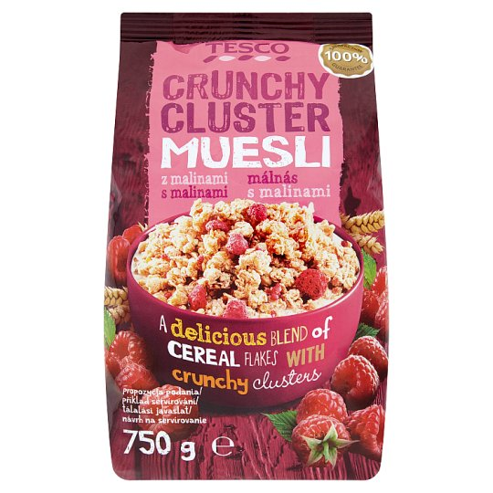 Tesco Crunchy Cluster Muesli with Raspberries 750g