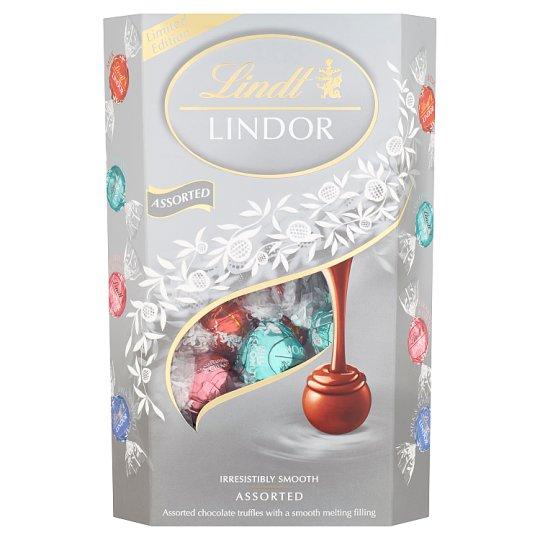Lindt Lindor Směs mléčné a bílé čokolády s jahodami a kokosem 337g
