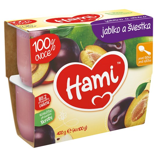 Hami Fruity Snack 100% Fruit Plum and Apple First Tea Spoon 4 x 100g