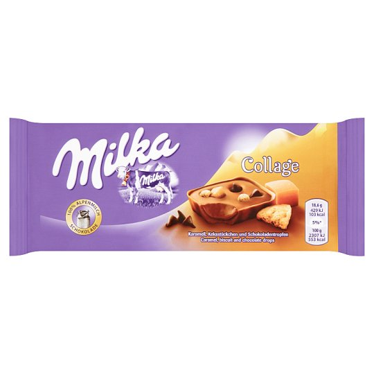 Milka Collage with Cocoa Filling, Milk Chocolate and Caramel Pieces 93g