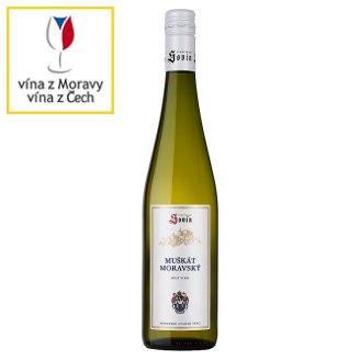 Sovín Muškát moravský moravské zemské víno bílé polosuché 0,75l