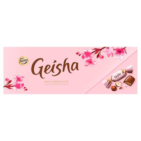 Fazer Geisha Mléčné čokoládové bonbony s náplní z lískových oříšků a nugátu 38 % 270g