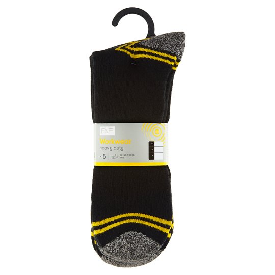 image 1 of F&F Workwear Men's Black Socks 5 Pieces in a Pack, 39-43, Black