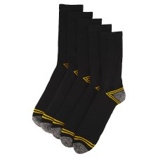 image 2 of F&F Workwear Men's Black Socks 5 Pieces in a Pack, 39-43, Black