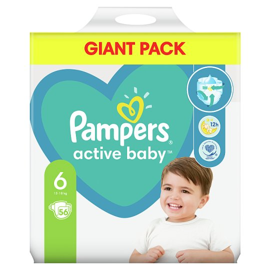 Pampers Diapers Size 6, 56 Nappies, 13-18 kg