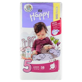 "Happy 5 Junior Disposable Diapers ""5"" á 58 pcs"