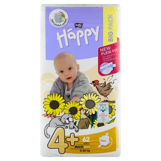 """Happy Maxi plus Dětské plenky """"4+"""" á 62 ks"""
