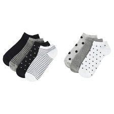 image 2 of F&F Women's Black-White Trainer Socks 7 Pieces in a Pack, S-M, Multicolor