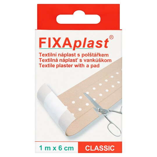 Fixaplast Classic Textile Plaster with a Pad 1 m x 6 cm