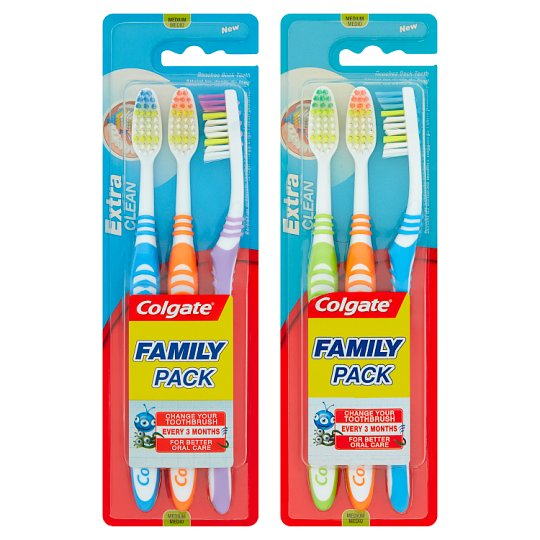 Colgate Extra Clean Zubní kartáček střední 3 ks