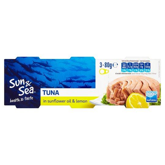 Sun & Sea Tuňák ve slunečnicovém oleji scitrónem 3 x 80g