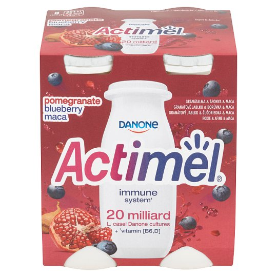 Danone Actimel Yoghurt Milk with Blueberries, Pomegranate and Maca 4 x 100g