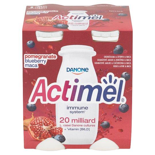 Danone Actimel Jogurtové mléko s borůvkama, granátovým jablkem a maca  4 x 100g