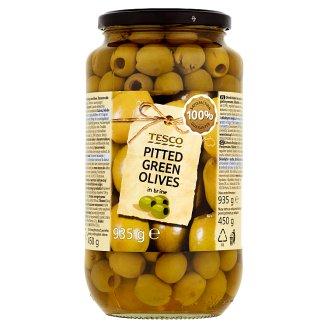 Tesco Zelené olivy bez pecky ve slaném nálevu 935g