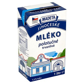 Madeta South Bohemian Long-Life Semi-Skimmed Milk 1L