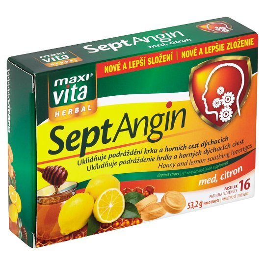 MaxiVita Herbal SeptAngin Honey, Lemon 16 Pastils 53.2g