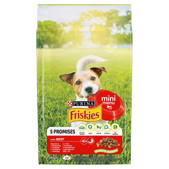 Friskies for Small Adult Dogs Mini Menu with Beef 1.5kg