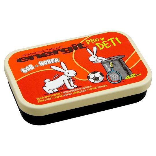 Energit Kidz Vitaminové tablety pro děti příchuť meruňka, jahoda, borůvka 42 ks 38g
