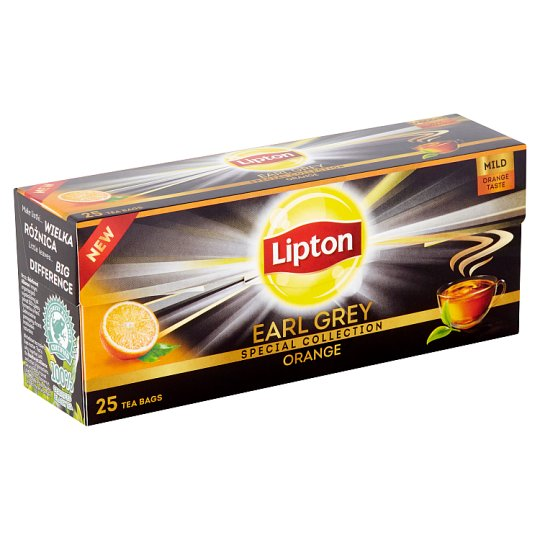 Lipton Černý aromatizovaný čaj Earl Grey Pomeranč 25 sáčků