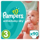Pampers Active Baby-Dry S3, 90 Nappies, Up To 12H Of Dryness
