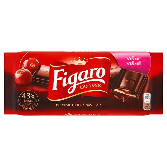 Figaro Dark Chocolate with Milk Filling with Cherry Flavor 90g