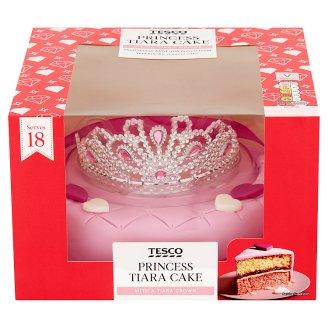 Tesco Princess Tiara piškotový dort plněný máslovým krémem a malinovým džemem 1200g