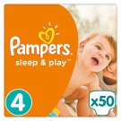 Pampers Sleep & Play Size 4, 50 Nappies, 8-14kg, Simply Dry